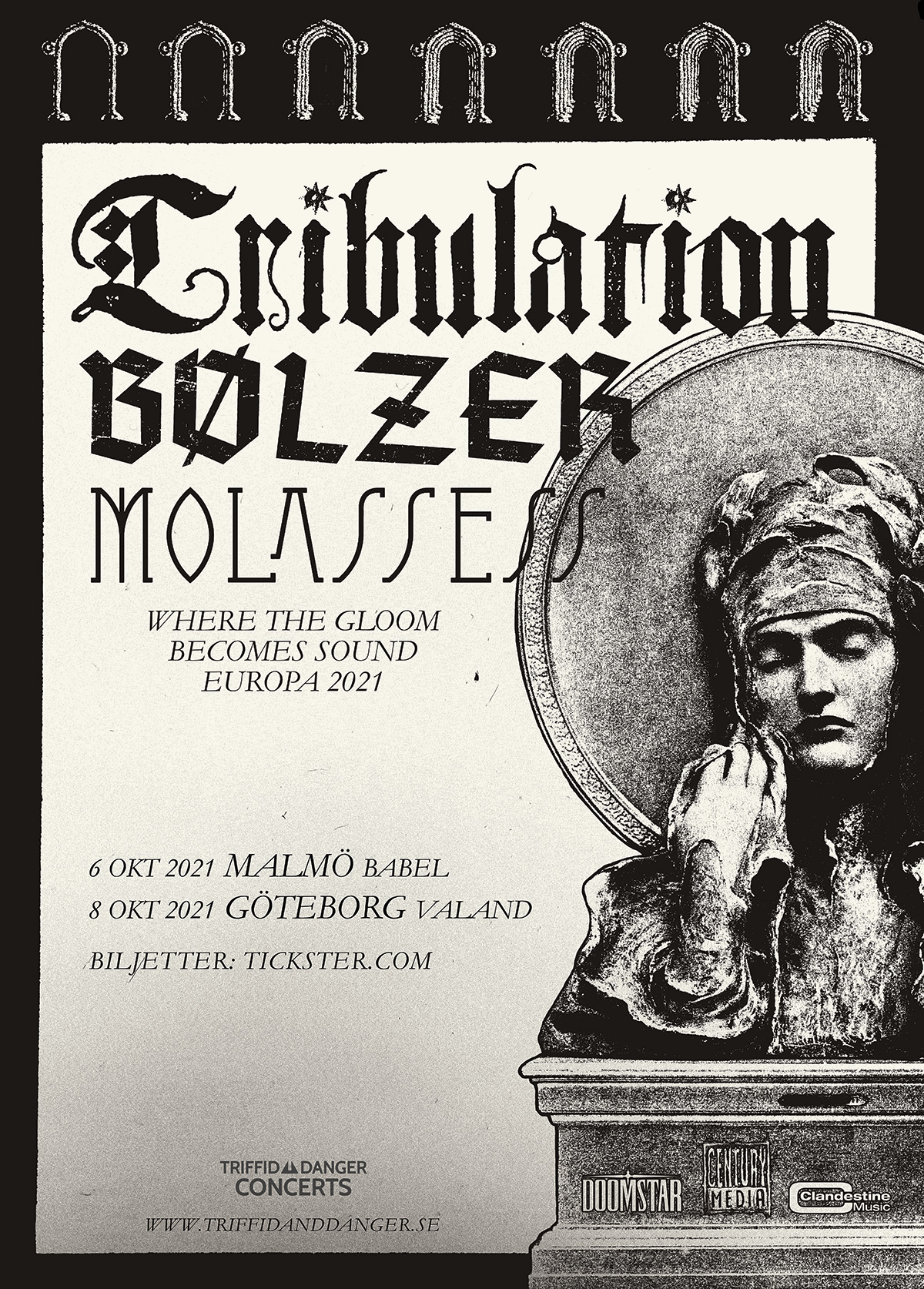 211006 : Tribulation (SE) LIVE – Support: Bølzer (CH) + Molassess (NL)