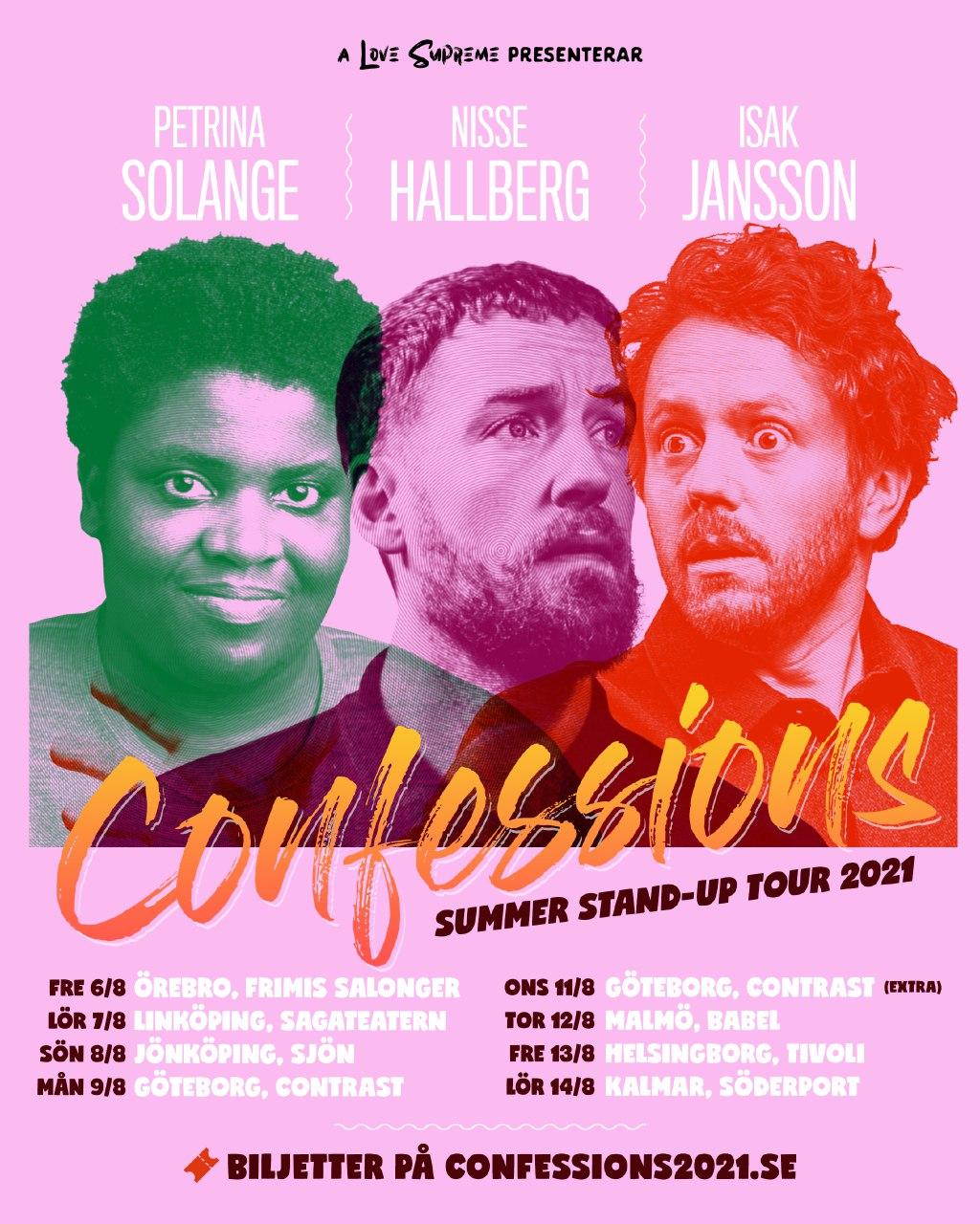 210812 : Confessions med Petrina Solange, Nisse Hallberg och Isak Jansson